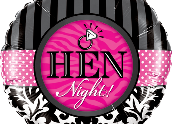 Hen Night - Black and Pink - Qualatex Small Foil Ball