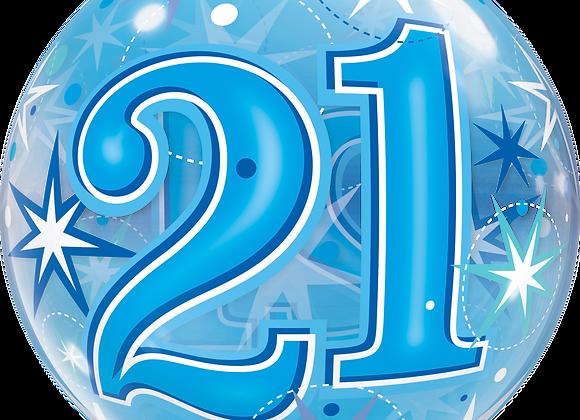 21 Blue Starburst Sparkle - Qualatex Bubble Balloon