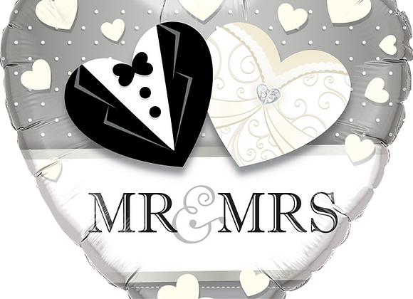 Mr and Mrs = Heart - Black and White -  Qualatex Small Foil Balloon