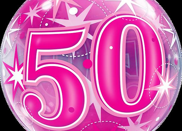 50 Pink Starburst Sparkle - Qualatex Bubble Balloon