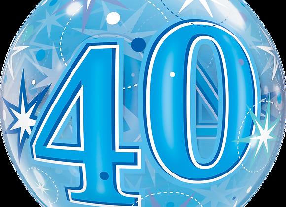 40 Blue Starburst Sparkle - Qualatex Bubble Balloon