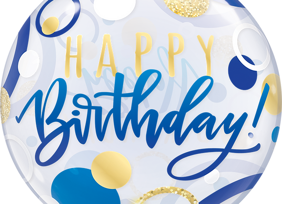 Happy Birthday - Blue and Gold - Qualatex Bubble Balloon