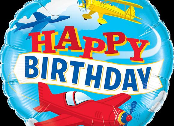 Happy Birthday - Airplane - Qualatex Small Foil Balloon