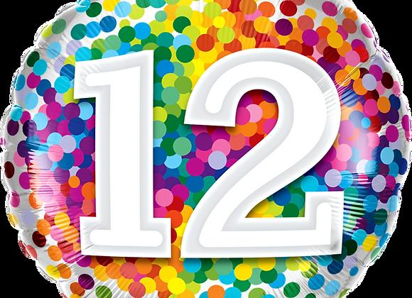 Rainbow Confetti - 12 - Qualatex Small Foil Balloon