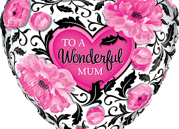 Wonderful Mum - Black and Pink - Qualatex Small Foil Balloon