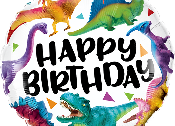 Happy Birthday Dinosaurs - Qualatex Small Foil Balloon