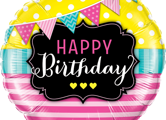 Brights and Stripes Happy Birthday - Qualatex Small Foil Balloon