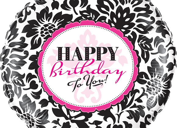 Happy Birthday to you -  Pink and Black - Qualatex Small Foil Balloon