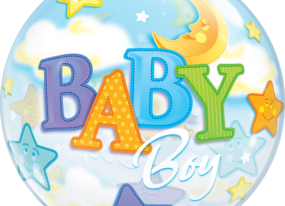 Baby Boy Stars and Clouds - Qualatex Bubble Balloon