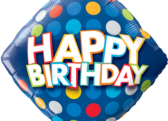 Birthday Blue and Colourful dots- Qualatex Small Foil