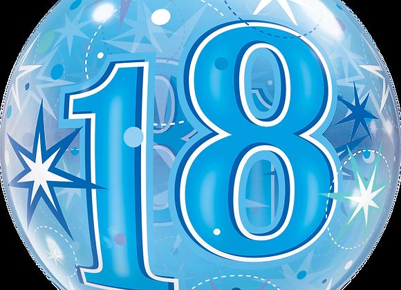 18 Blue Starburst Sparkle - Qualatex Bubble Balloon