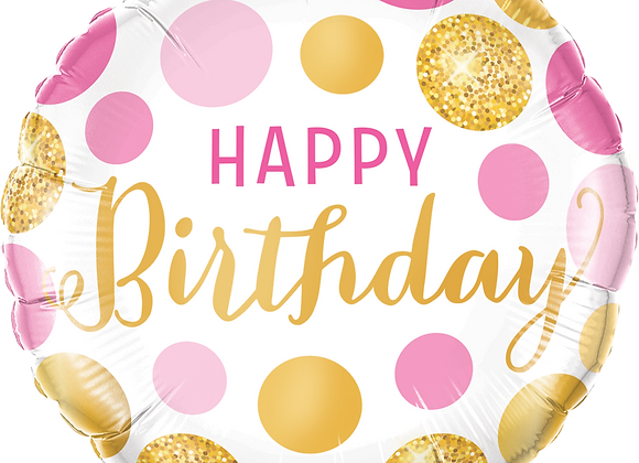 Pink and Gold Happy Birthday - Qualatex Small Foil Balloon