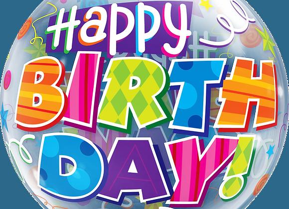 Happy Birthday Party Patterns - Qualatex Bubble Balloon
