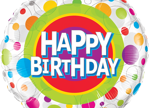 Happy Birthday - Brights - Spots and dots - Qualatex Small Foil Balloon
