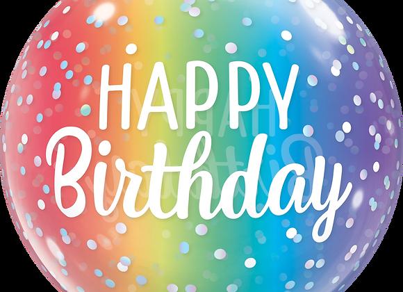 Happy Birthday Rainbow Stripes - Qualatex Bubble Balloon