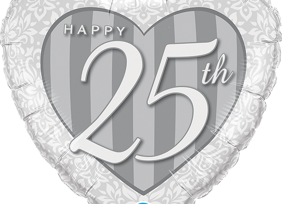 Happy 25th Damask -  Qualatex Small Foil Balloon