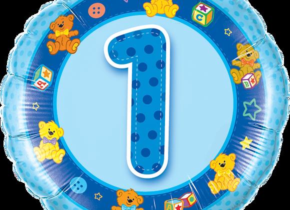 Age 1 Blue Teddies - Blue- Qualatex Small Foil Balloon