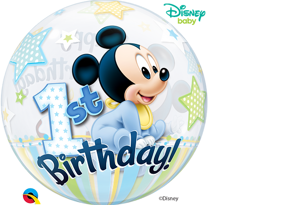 Happy Birthday Mickey 1 - Qualatex Bubble Balloon