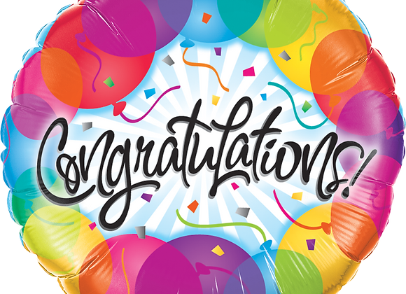 Congratulations - Bright Balloons -  Qualatex Small Foil Balloon