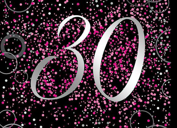 Foil Glitz 30 Pink - Napkins - Unique