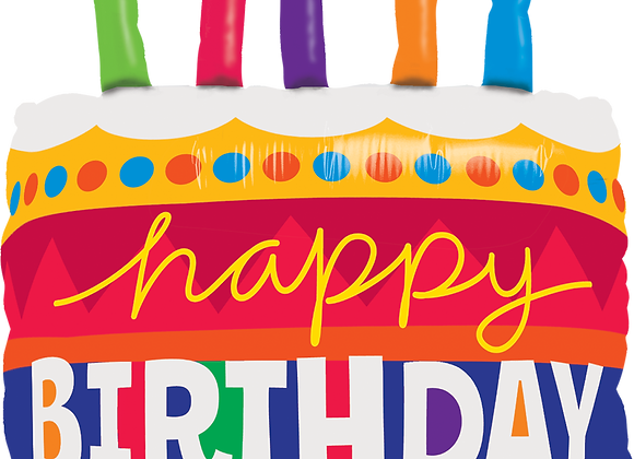 Happy Birthday Cake with Candles - Qualatex Large Foil Balloon