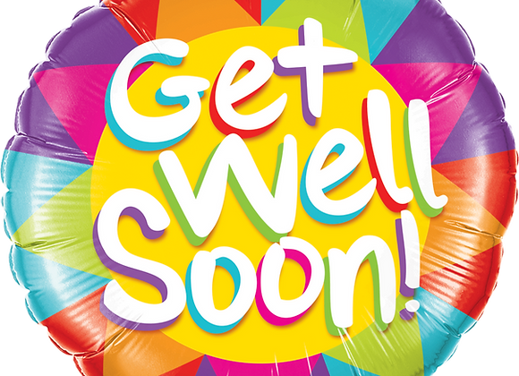 Multi coloured Get well soon - Qualatex Small Foil Balloon