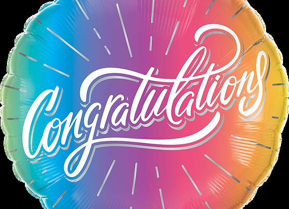 Congratulations Vibrant Ombre- Qualatex Small Foil