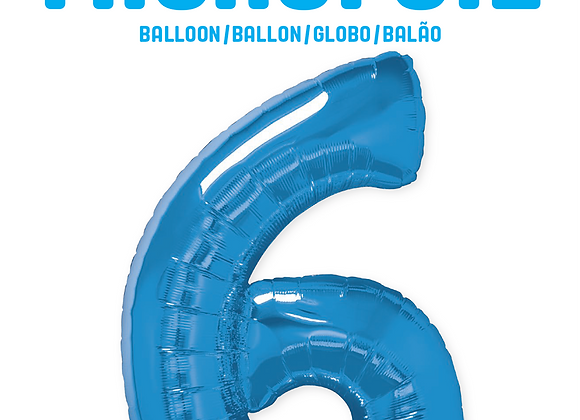 Blue - 6 - Qualatex Large Foil Balloon