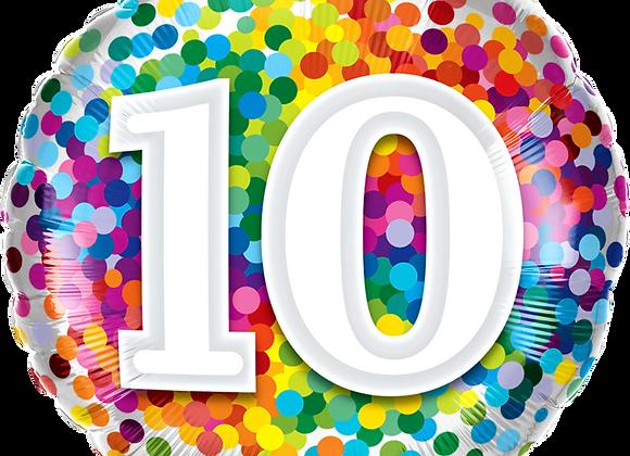 Rainbow Confetti - 10 - Qualatex Small Foil Balloon
