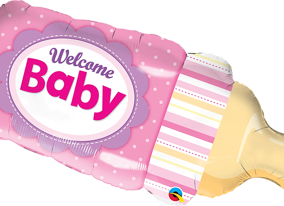 Welcome Baby Bottle - Pink - Qualatex Large Foil Balloon