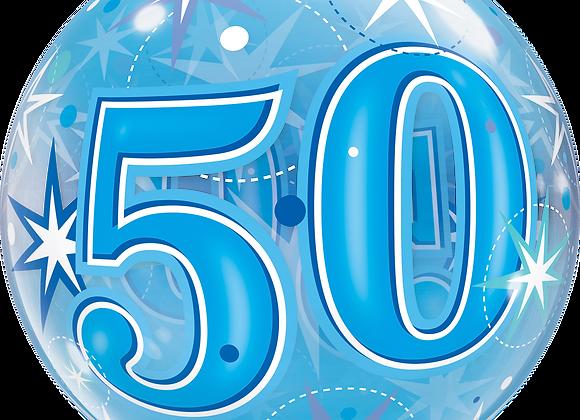 50 Blue Starburst Sparkle - Qualatex Bubble Balloon