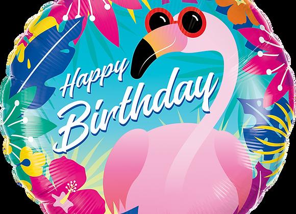 Birthday Tropical Flamingo- Qualatex Small Foil Balloon