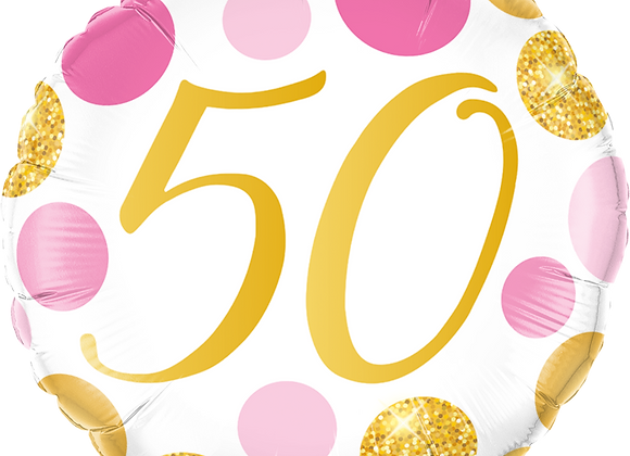 Gold and Pink 50 - Qualatex Small Foil Balloon