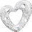 Thumbnail: Heart - White and Sliver Qualatex Large Foil Balloon