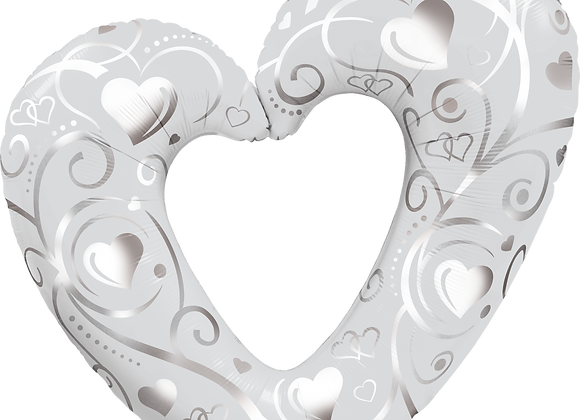 Heart - White and Sliver Qualatex Large Foil Balloon