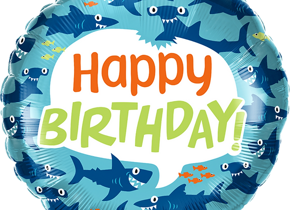Happy Birthday Sharks - Qualatex Small Foil Balloon