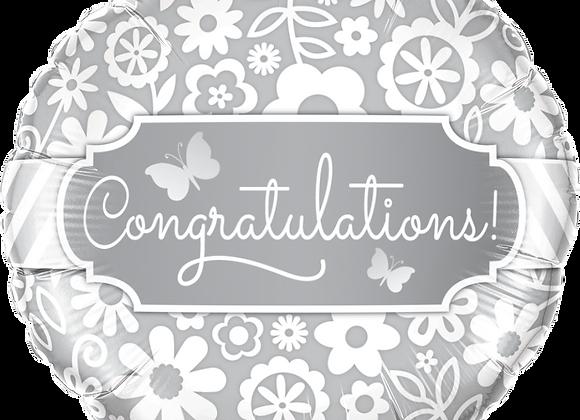 Congratulations - Silver and White - Qualatex Small Foil Ball