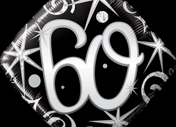 Diamond - 60 - Silver and Black - Qualatex Small Foil Balloon