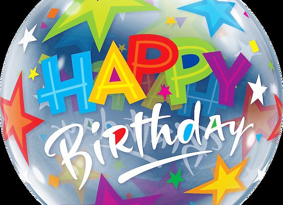 Happy Birthday Stars - Qualatex Bubble Balloon