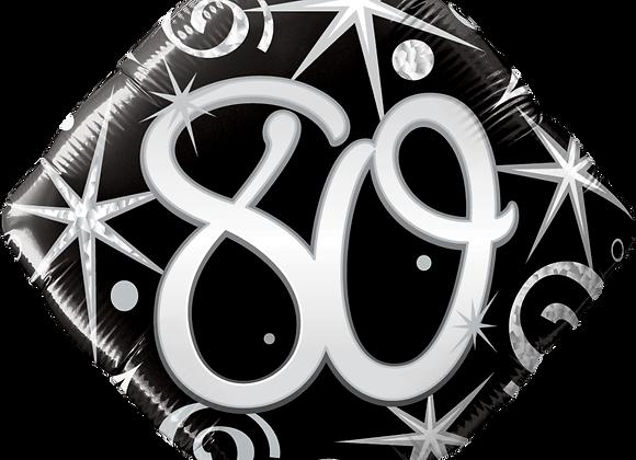 Diamond - 80 - Silver and Black - Qualatex Small Foil Balloon