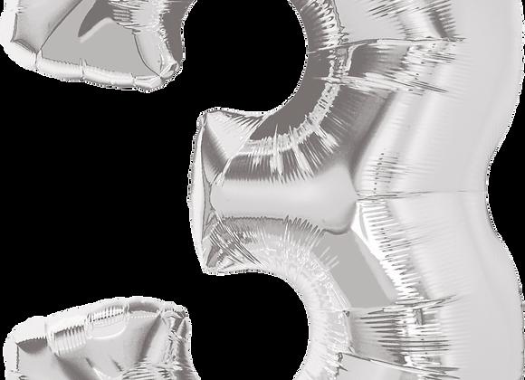 Silver - 3 - Qualatex Large Foil Balloon