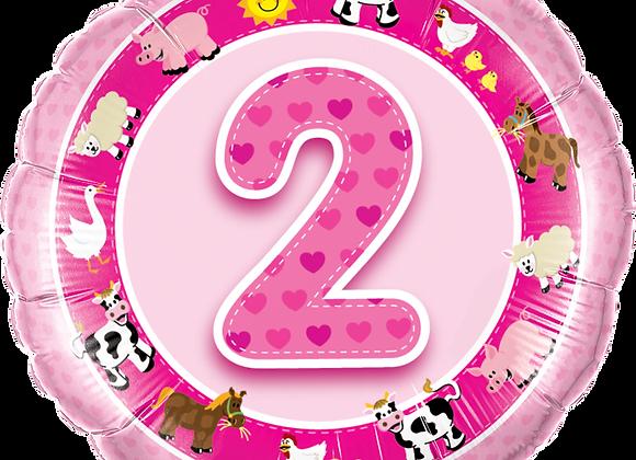 Farm Animals - 2 - Pink - Qualatex Small Foil Balloo