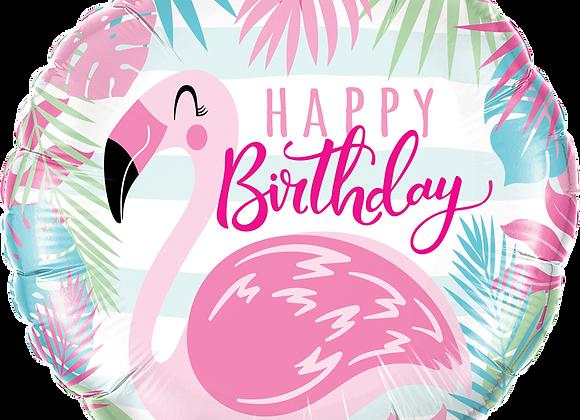 Happy Birthday - Flamingo - Pastels - Qualatex Small Foil Balloon