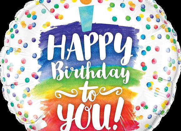 Happy Birthday to you rainbow cake - Qualatex Small Foil