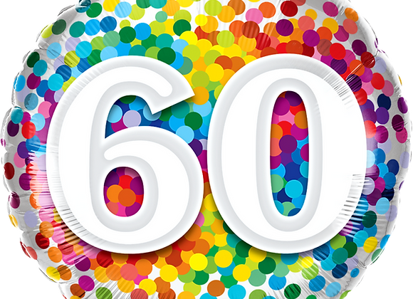 Rainbow Confetti - 60 - Qualatex Small Foil Balloon
