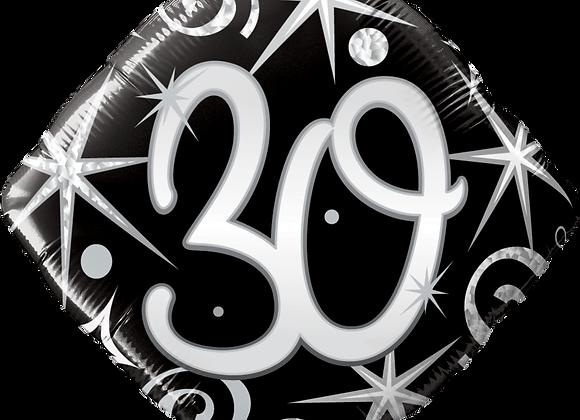 Diamond - 30 - Silver and Black - Qualatex Small Foil Balloon