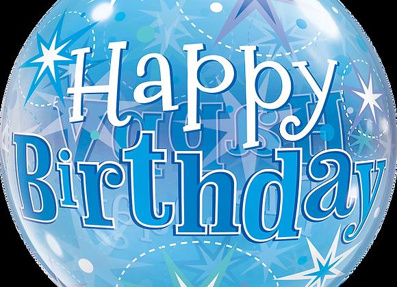 Birthday Blue Starburst Sparkle - Qualatex Bubble Balloon