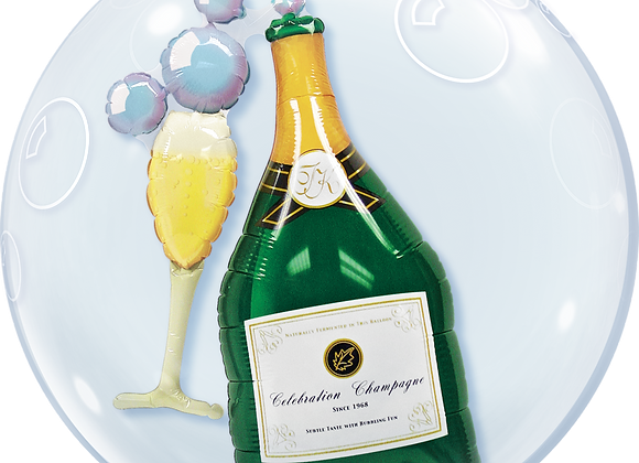 Champange and Glass - Qualatex Double Bubble Balloon