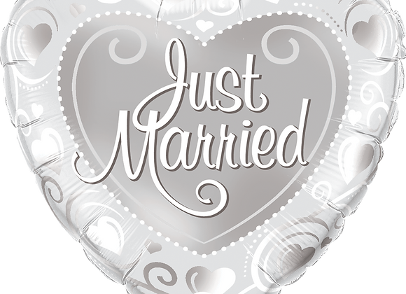 Heart - Just Married - Silver and White -  Qualatex Small Foil Balloon