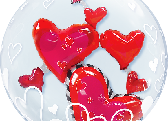 Hearts - Qualatex Double Bubble Balloon